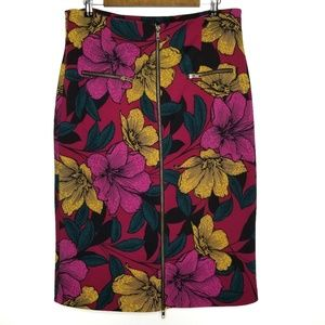 Worthington 14w Pencil Skirt Zip Floral